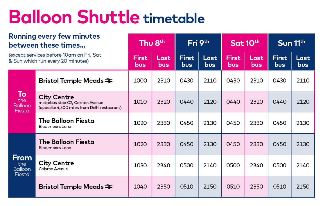 Bus Timetable Bristol Balloon Fiesta 2019